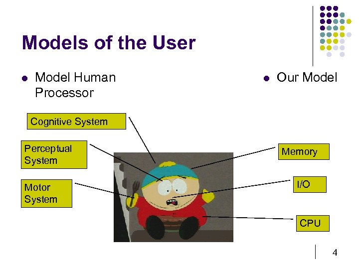 Models of the User l Model Human Processor l Our Model Cognitive System Perceptual