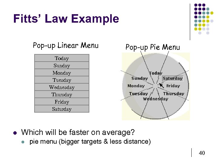 Fitts' Law Example Pop-up Linear Menu Pop-up Pie Menu Today Sunday Monday Tuesday Wednesday
