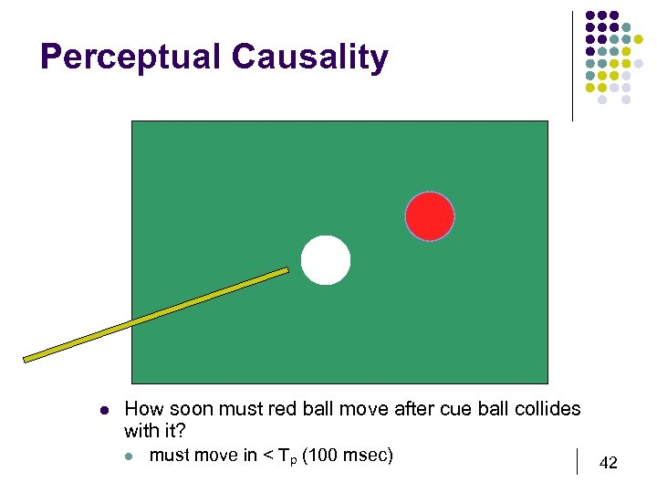 Perceptual Causality l How soon must red ball move after cue ball collides with