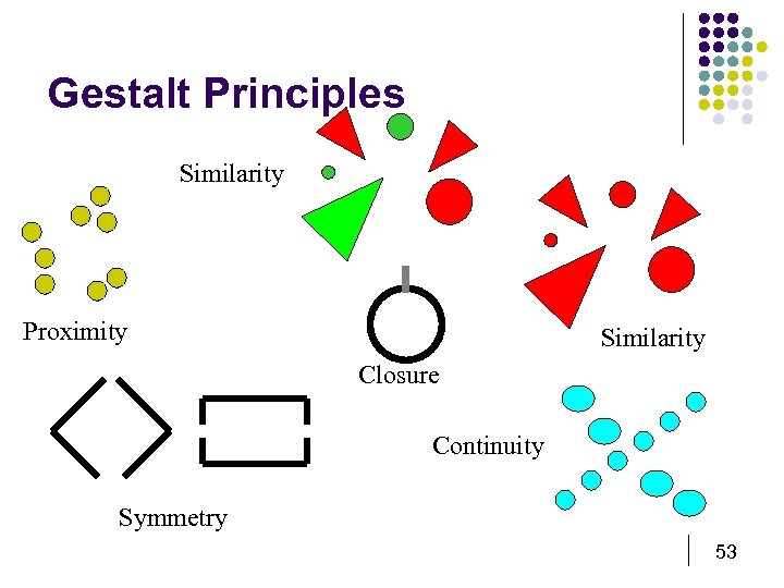 Gestalt Principles Similarity Proximity Similarity Closure Continuity Symmetry 53