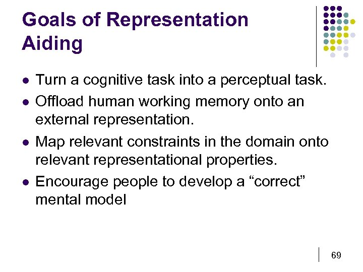 Goals of Representation Aiding l l Turn a cognitive task into a perceptual task.