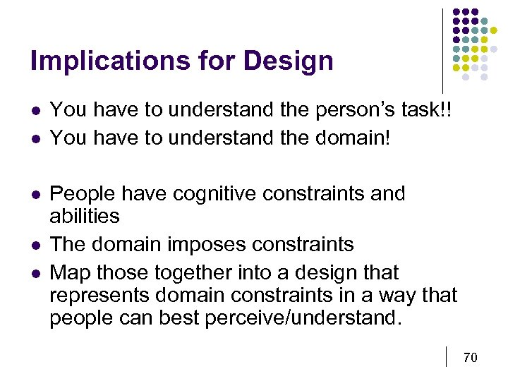Implications for Design l l l You have to understand the person's task!! You