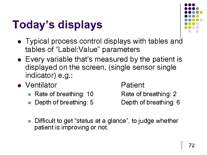 Today's displays l l l Typical process control displays with tables and tables of