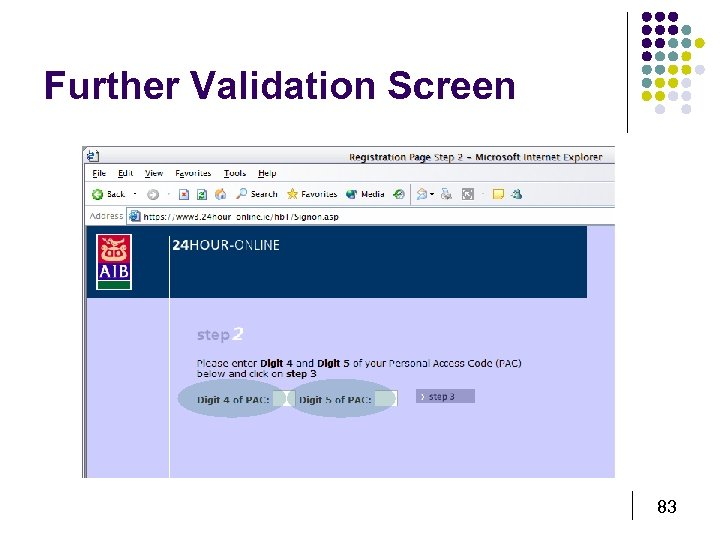 Further Validation Screen 83