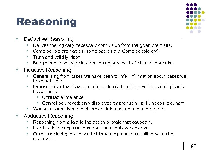 Reasoning • Deductive Reasoning • • • Inductive Reasoning • • Derives the logically