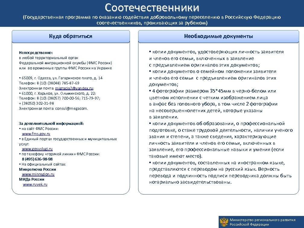 Соотечественники Временное убежище (Государственная программа по оказанию содействия добровольному переселению в Российскую Федерацию соотечественников,