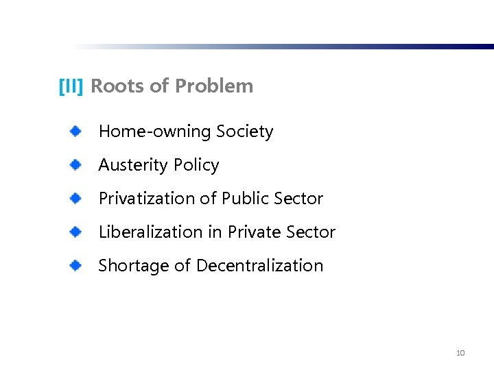[II] Roots of Problem Home-owning Society Austerity Policy Privatization of Public Sector Liberalization in