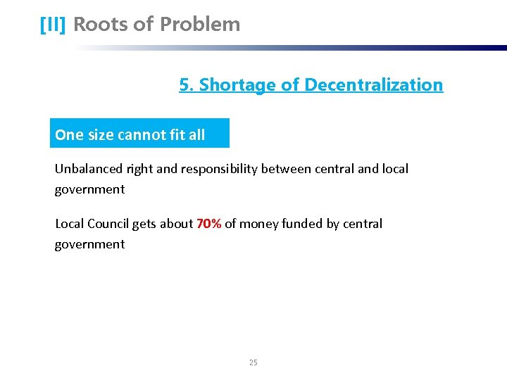 [II] Roots of Problem 5. Shortage of Decentralization One size cannot fit all Unbalanced