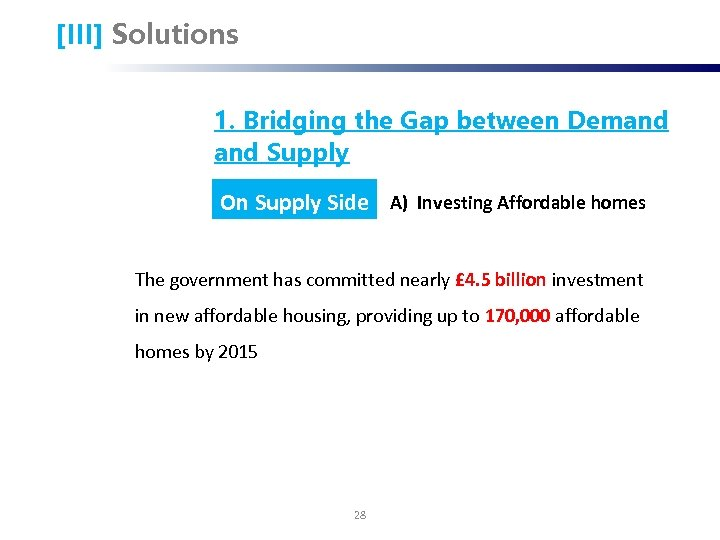 [III] Solutions 1. Bridging the Gap between Demand Supply On Supply Side A) Investing
