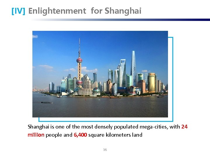 [IV] Enlightenment for Shanghai is one of the most densely populated mega-cities, with 24