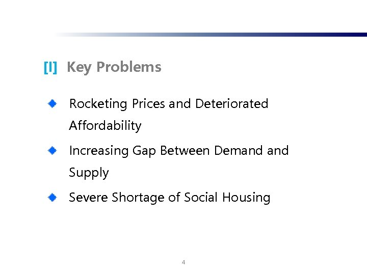 [I] Key Problems Rocketing Prices and Deteriorated Affordability Increasing Gap Between Demand Supply Severe