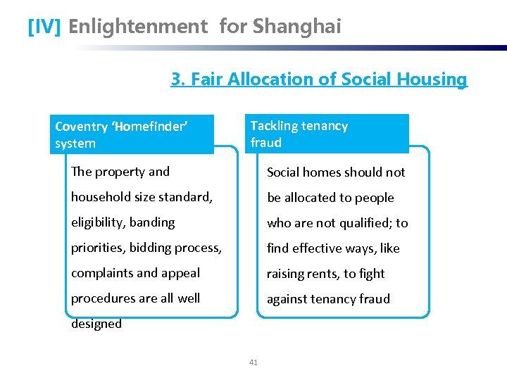 [IV] Enlightenment for Shanghai 3. Fair Allocation of Social Housing Coventry 'Homefinder' system Tackling
