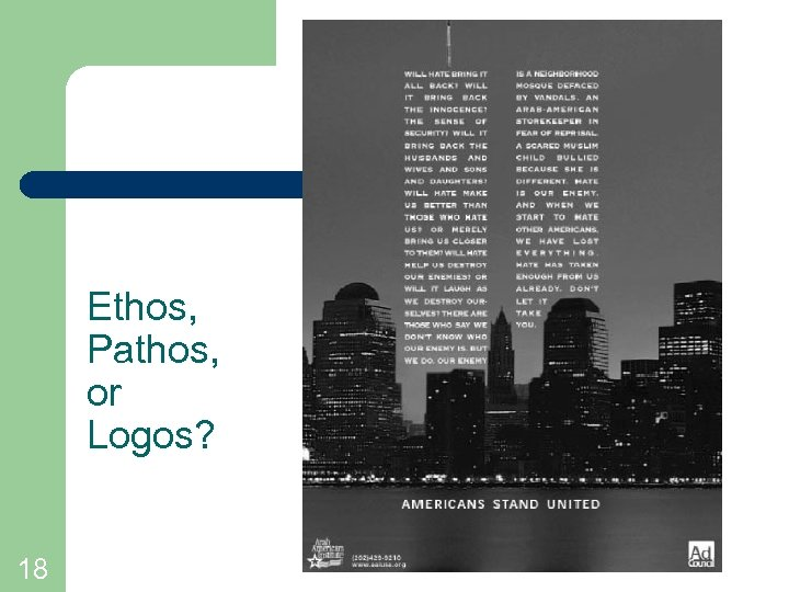Ethos, Pathos, or Logos? 18