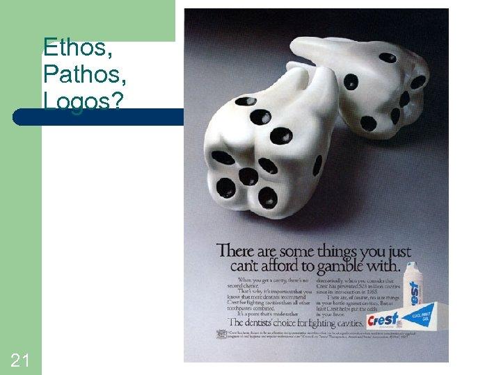 Ethos, Pathos, Logos? 21