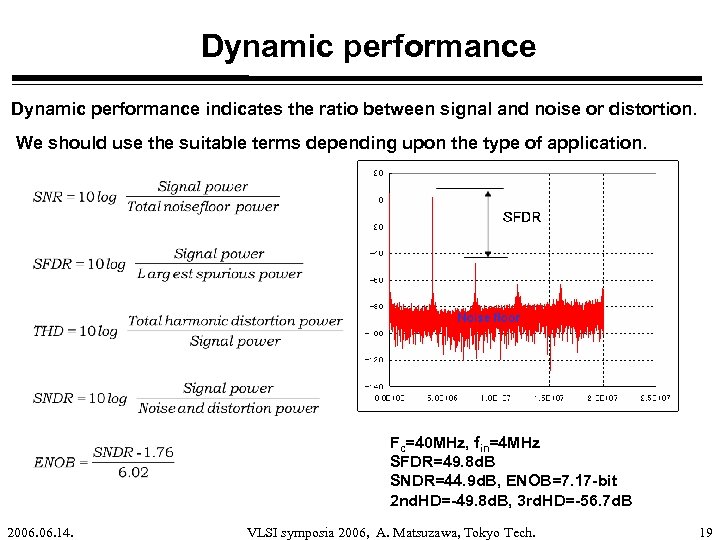 Dynamic performance indicates the ratio between signal and noise or distortion. We should use