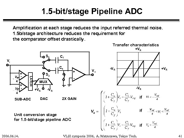 1. 5 -bit/stage Pipeline ADC Amplification at each stage reduces the input referred thermal