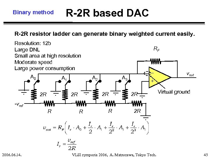 Binary method R-2 R based DAC R-2 R resistor ladder can generate binary weighted