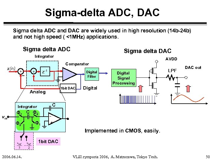 Sigma-delta ADC, DAC Sigma delta ADC and DAC are widely used in high resolution