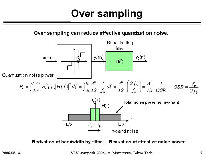 Over sampling can reduce effective quantization noise. Band limiting filter x(n) y 1(n) Δ