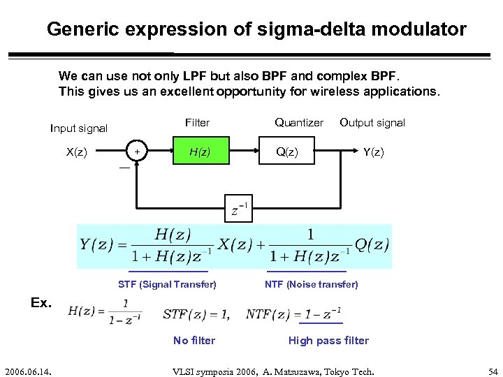 Generic expression of sigma-delta modulator We can use not only LPF but also BPF