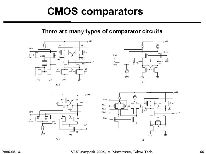 CMOS comparators There are many types of comparator circuits 2006. 14. VLSI symposia 2006,