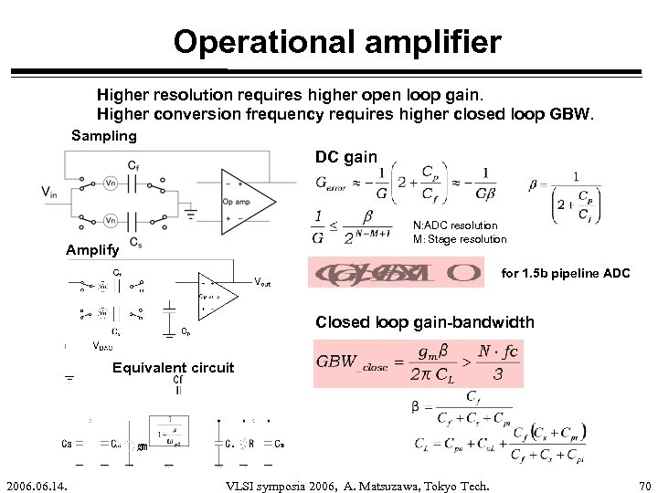 Operational amplifier Higher resolution requires higher open loop gain. Higher conversion frequency requires higher