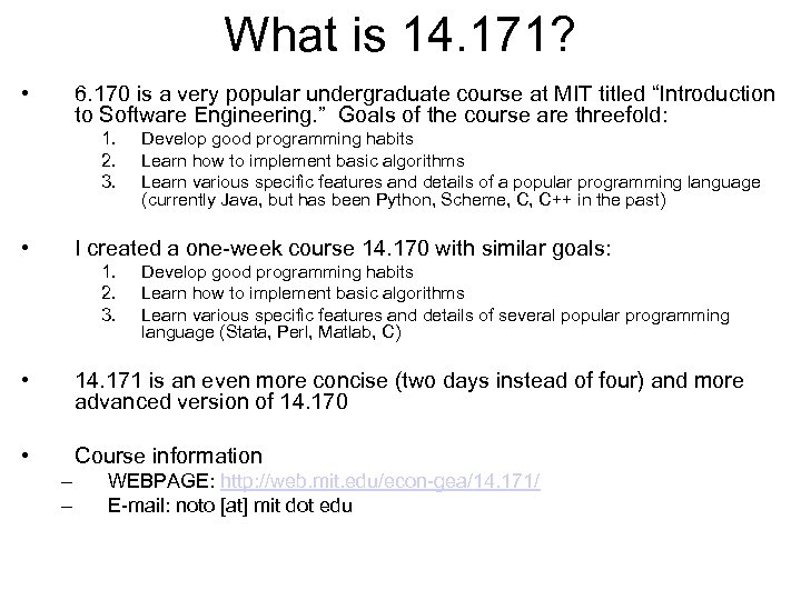 What is 14. 171? • 6. 170 is a very popular undergraduate course at