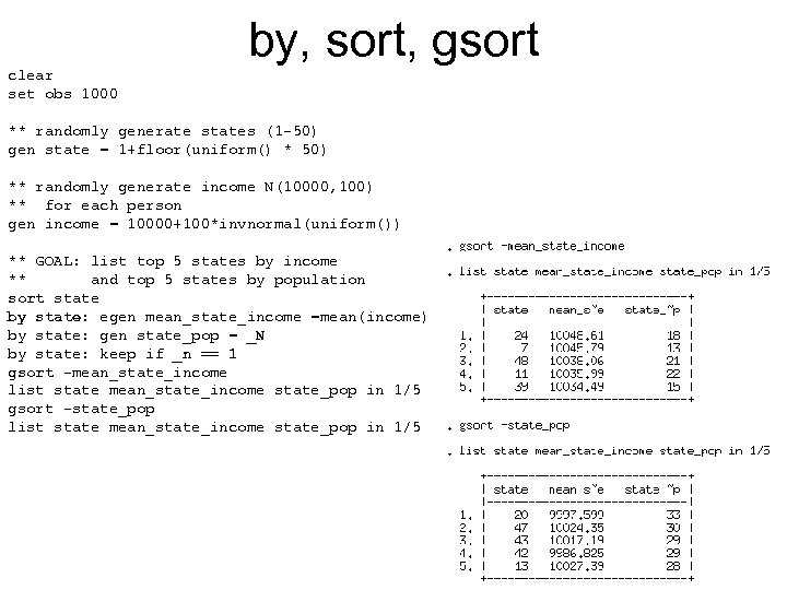 by, sort, gsort clear set obs 1000 ** randomly generate states (1 -50) gen