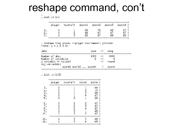 reshape command, con't