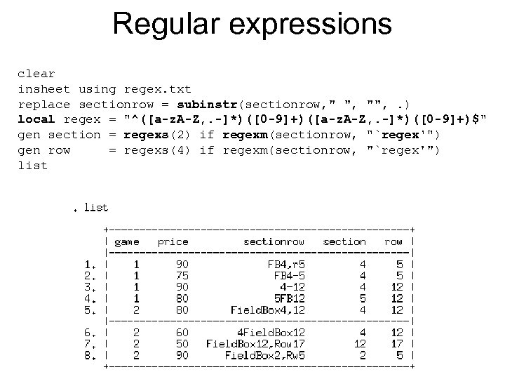 Regular expressions clear insheet using regex. txt replace sectionrow = subinstr(sectionrow,