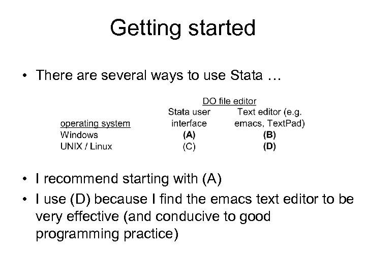 Getting started • There are several ways to use Stata … • I recommend