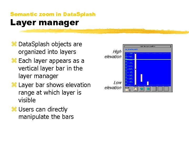 Semantic zoom in Data. Splash Layer manager z Data. Splash objects are organized into