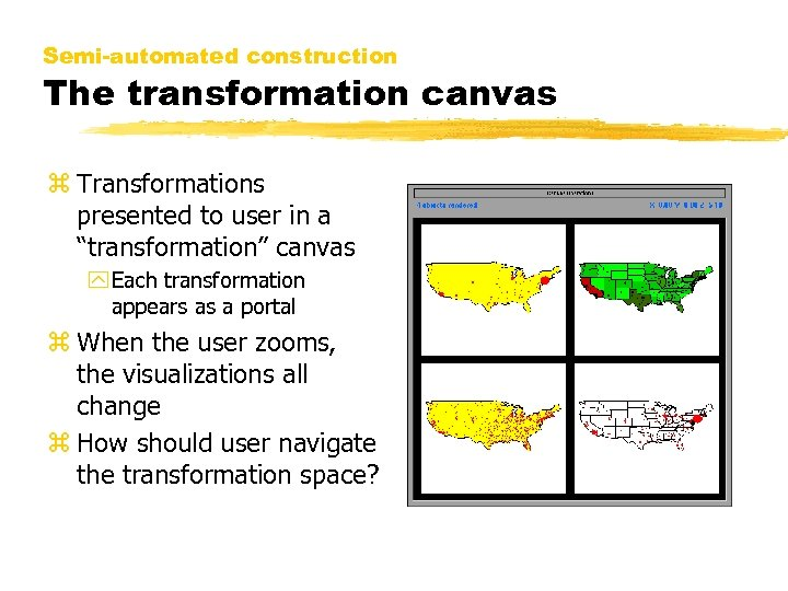 "Semi-automated construction The transformation canvas z Transformations presented to user in a ""transformation"" canvas"