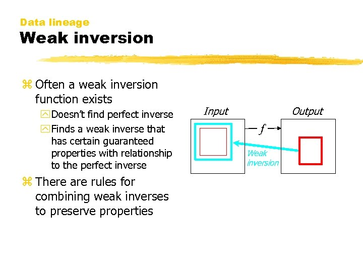 Data lineage Weak inversion z Often a weak inversion function exists y Doesn't find