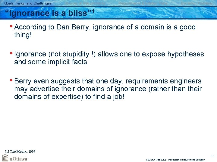 """Goals, Risks, and Challenges Sources of Requirements Elicitation Tasks Elicitation Problems """"Ignorance is a"""