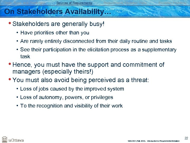 Goals, Risks, and Challenges Sources of Requirements Elicitation Tasks Elicitation Problems On Stakeholders Availability…
