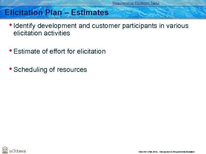 Goals, Risks, and Challenges Sources of Requirements Elicitation Tasks Elicitation Problems Elicitation Plan –