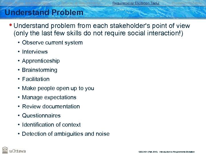 Goals, Risks, and Challenges Sources of Requirements Elicitation Tasks Elicitation Problems Understand Problem •