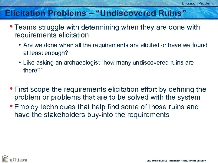 "Goals, Risks, and Challenges Sources of Requirements Elicitation Tasks Elicitation Problems – ""Undiscovered Ruins"""