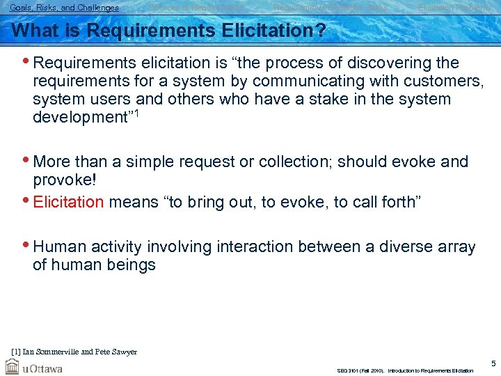 Goals, Risks, and Challenges Sources of Requirements Elicitation Tasks Elicitation Problems What is Requirements