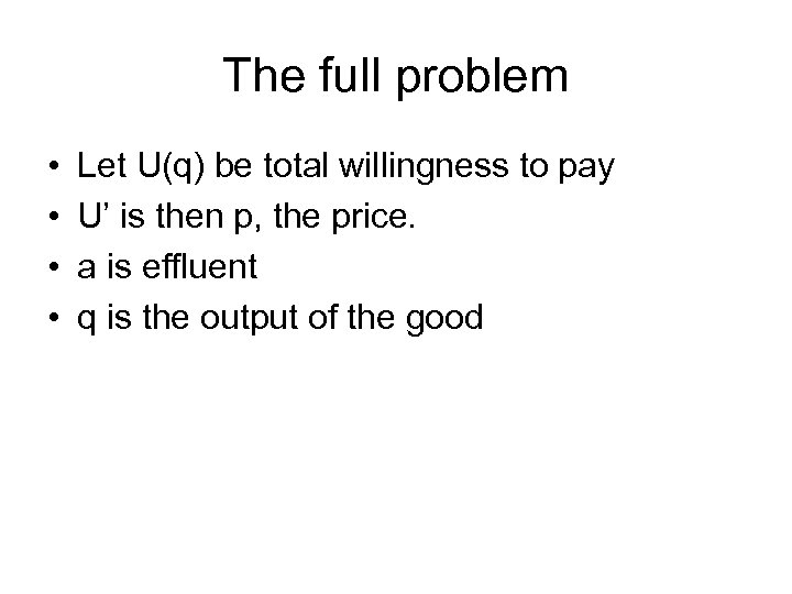 The full problem • • Let U(q) be total willingness to pay U' is