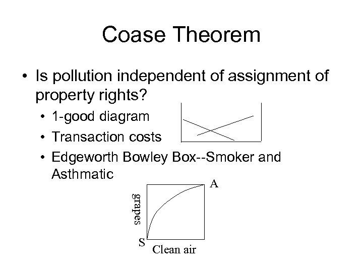 Coase Theorem • Is pollution independent of assignment of property rights? • 1 -good