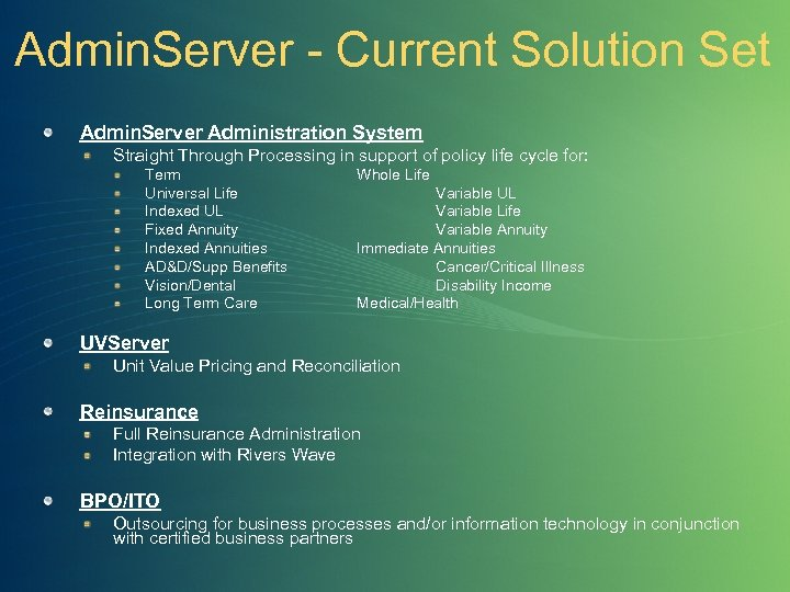Admin. Server - Current Solution Set Admin. Server Administration System Straight Through Processing in