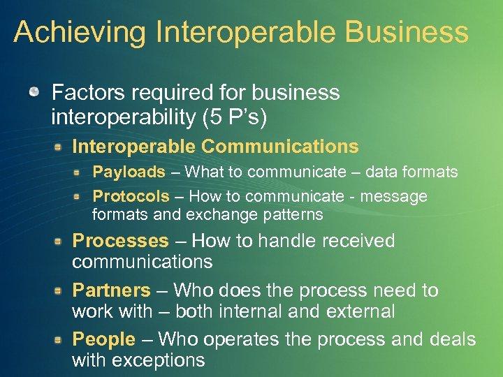 Achieving Interoperable Business Factors required for business interoperability (5 P's) Interoperable Communications Payloads –