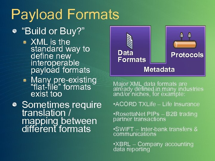 """Payload Formats """"Build or Buy? """" XML is the standard way to define new"""