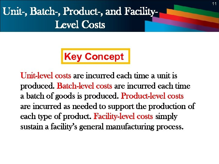 11 Unit-, Batch-, Product-, and Facility. Level Costs Key Concept Unit-level costs are incurred