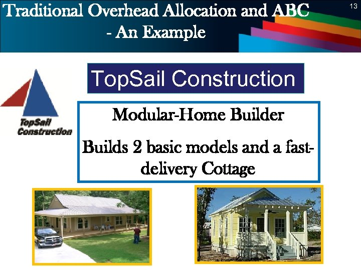 Traditional Overhead Allocation and ABC - An Example 13 Top. Sail Construction Modular-Home Builder