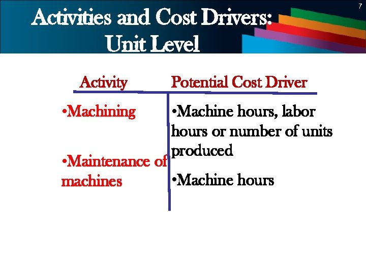 7 Activities and Cost Drivers: Unit Level Activity • Machining Potential Cost Driver •