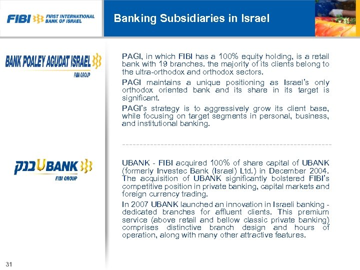 Banking Subsidiaries in Israel PAGI, in which FIBI has a 100% equity holding, is