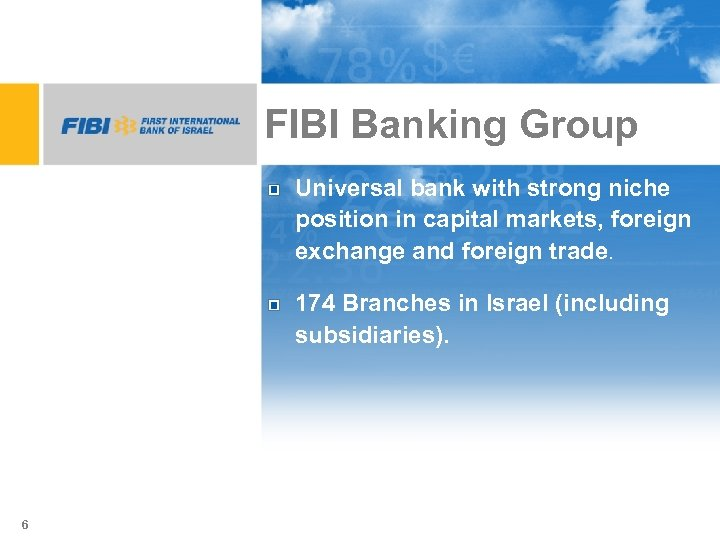 FIBI Banking Group Universal bank with strong niche position in capital markets, foreign exchange